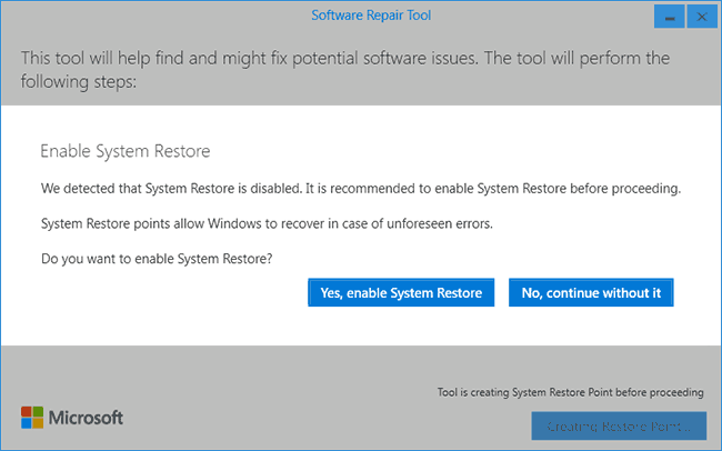Исправление ошибок Windows 10 в Microsoft Software Repair Tool (2)