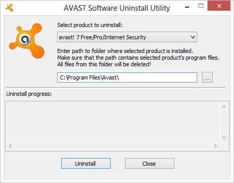 удаление антивируса аваст с помощью avast uninstall utility